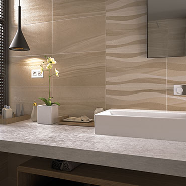 National Tile. Oriente 33x55 / 45x45. Natural stone look high gloss tiles with 3D wavy effect decors for bathroom walls and floors.