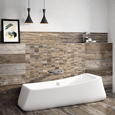 National Tile. Retro 22x84. Vintage wood look porcelain tiles for bathroom walls and floors.