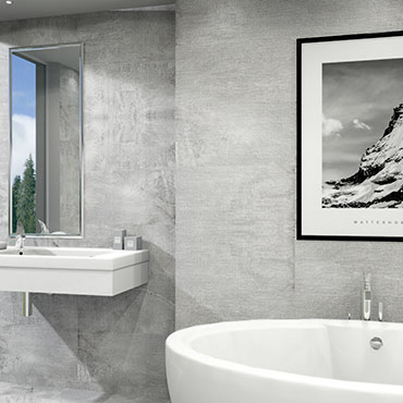 National Tile. Signum 33x66. Stone look porcelain tiles with 3D effect relief decors for bathroom walls and floors.