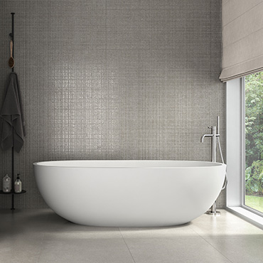 National Tile. Soft 40x120. Extra large format stone look semi-polished effect wall tiles with mosaic decor.