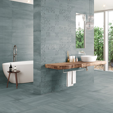 National Tile. Sospiro. Large format concrete look monocolour bathroom wall and floor tiles. View collection.