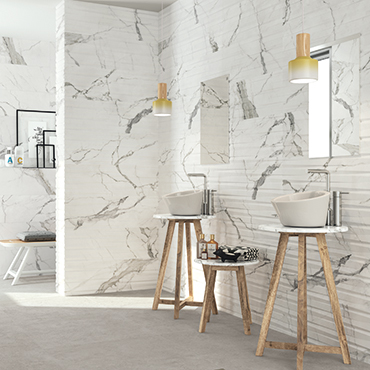 National Tile. Statuario 30x90 / 60x60. High gloss and matt finish white mable look tiles with 3D effect decor for bathroom walls and floors.