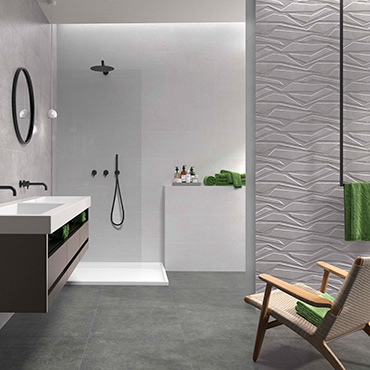 National Tile. Type 30x90. Extra large format stone look bathroom wall tiles with geometric pattern decor.