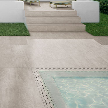National Tile. Uptown 50x100. Large format natural concrete look 20mm porcelain paving tiles for commercial projects.