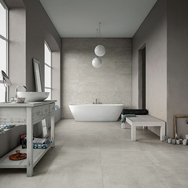 National Tile. Uptown 45x90 / 60x60. Large format concrete look  porcelain tiles for bathroom walls and floors.