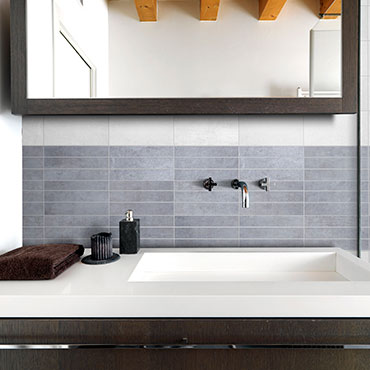 National Tile. Urban Mix 25x40 / 45x45. Concrete, stone and wood look bathroom wall and floor tiles.