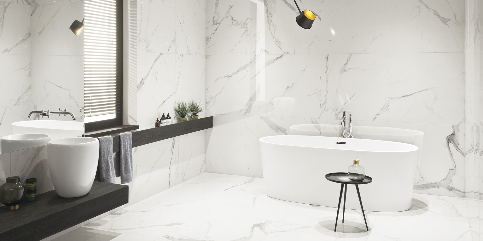 The most beautiful in the world marble look extra large format wall tiles for bathrooms available only in National Tile Ireland.