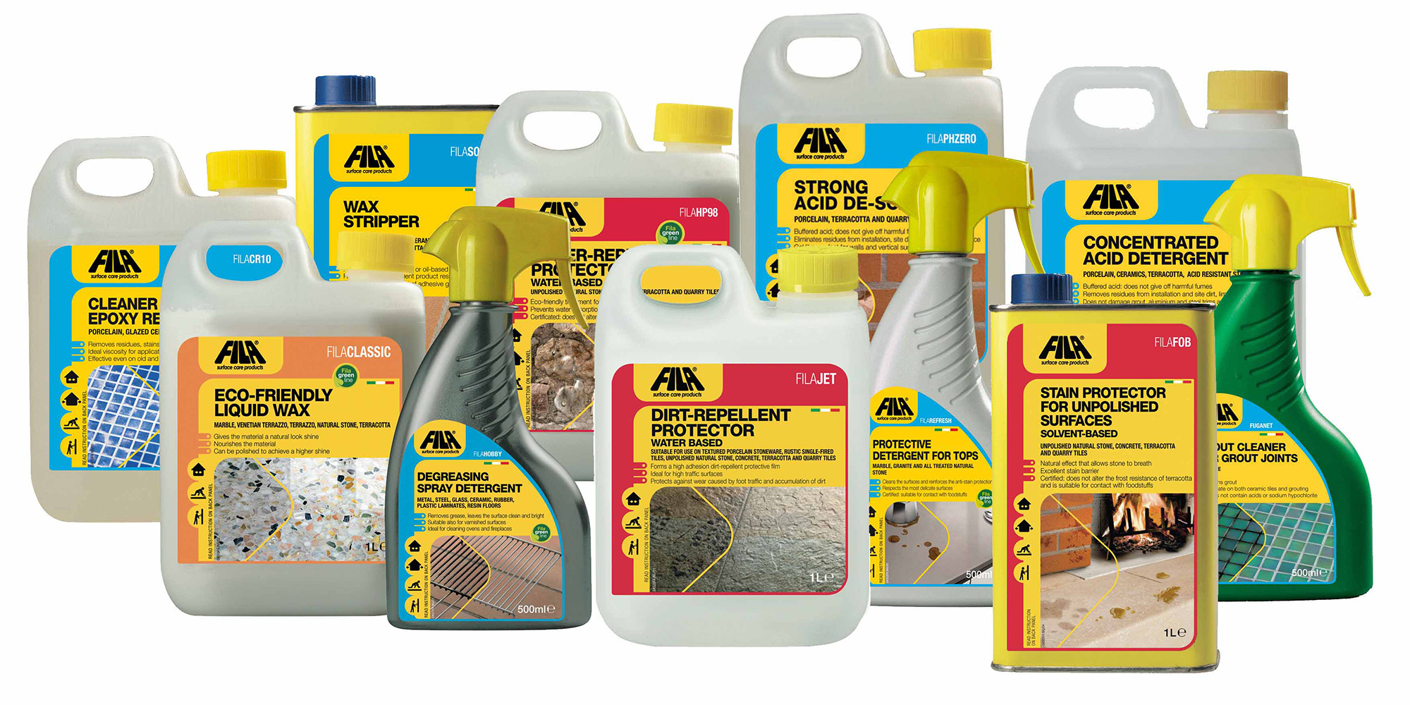 Fila Ireland. Tile surface and cleaning products.