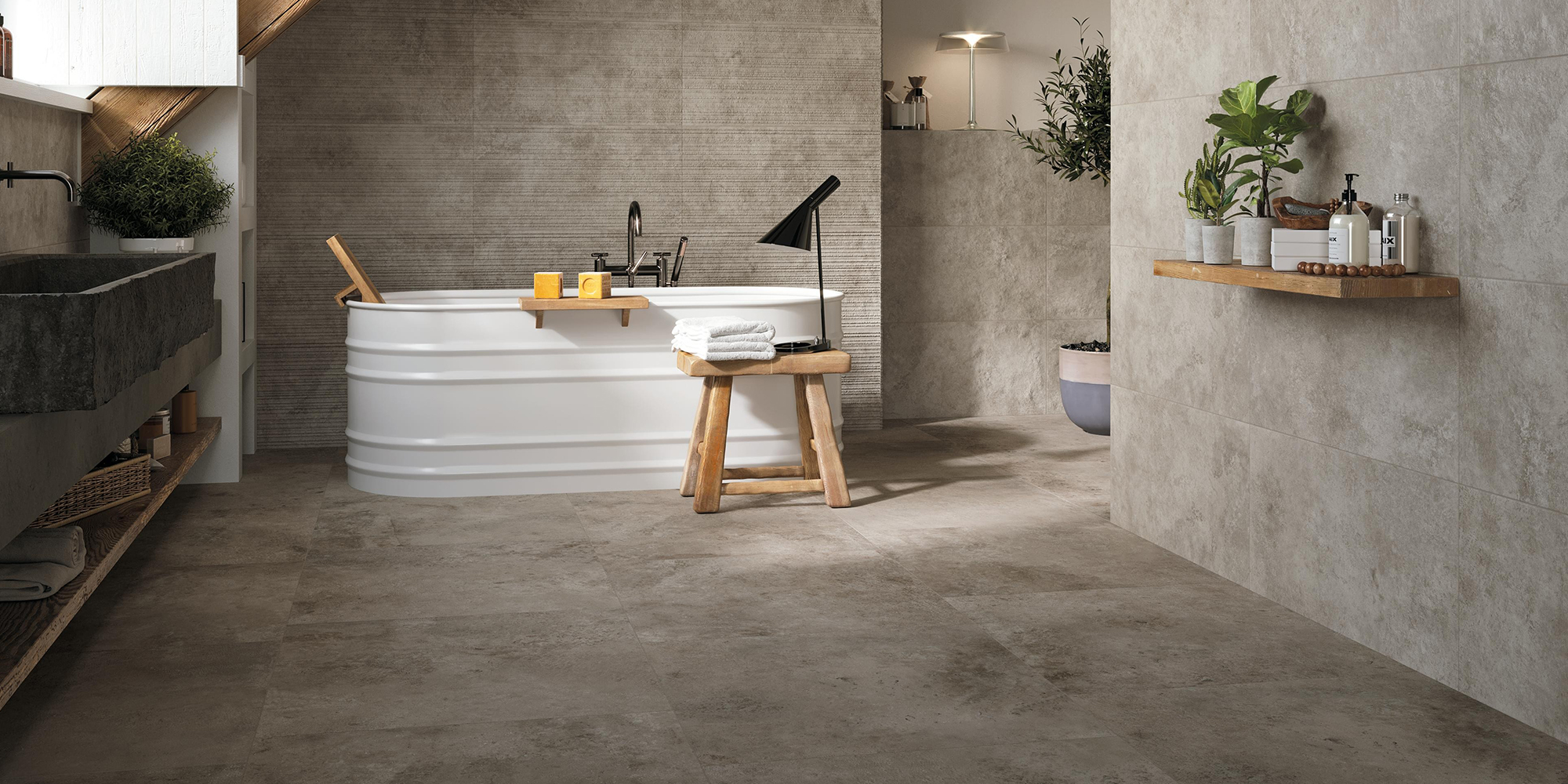 Aix 37.5x75. European ancient stone look porcelain tiles for residential and commercial, indoor and outdoor applications.