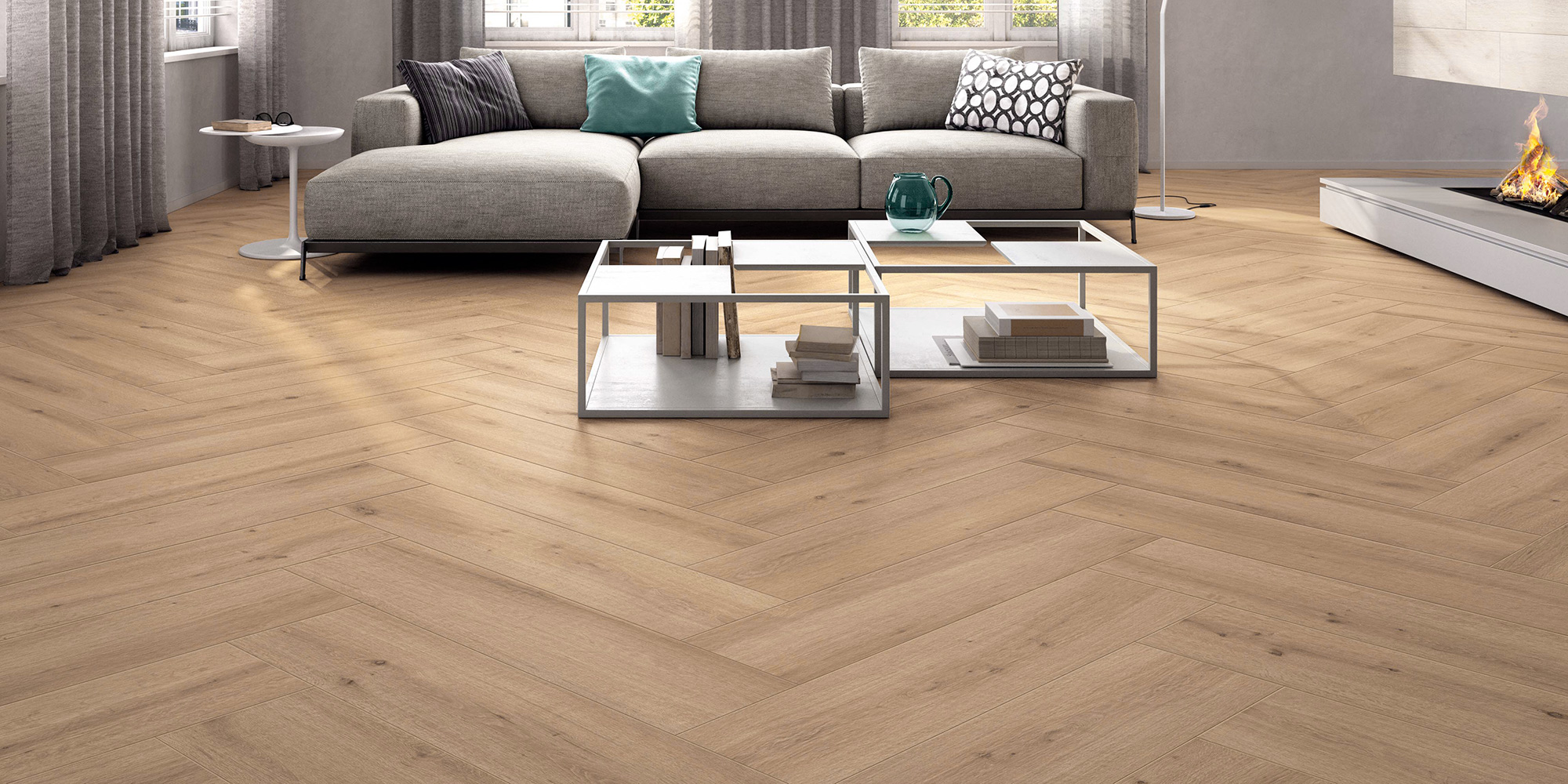 Breath 22.5x90. Oak plank look porcelain wall and floor tiles with anti-slip rating R10 A.