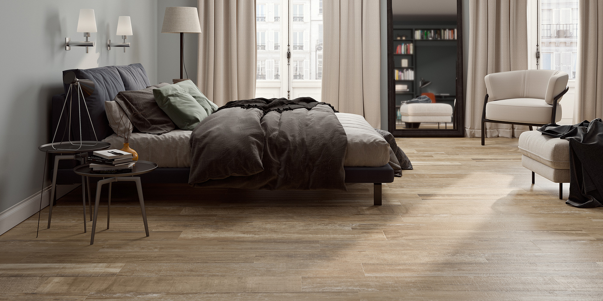 Colonial Soft 20x120. Extra long plank oak wood effect porcelain tiles with anti-slip rating R10 C.