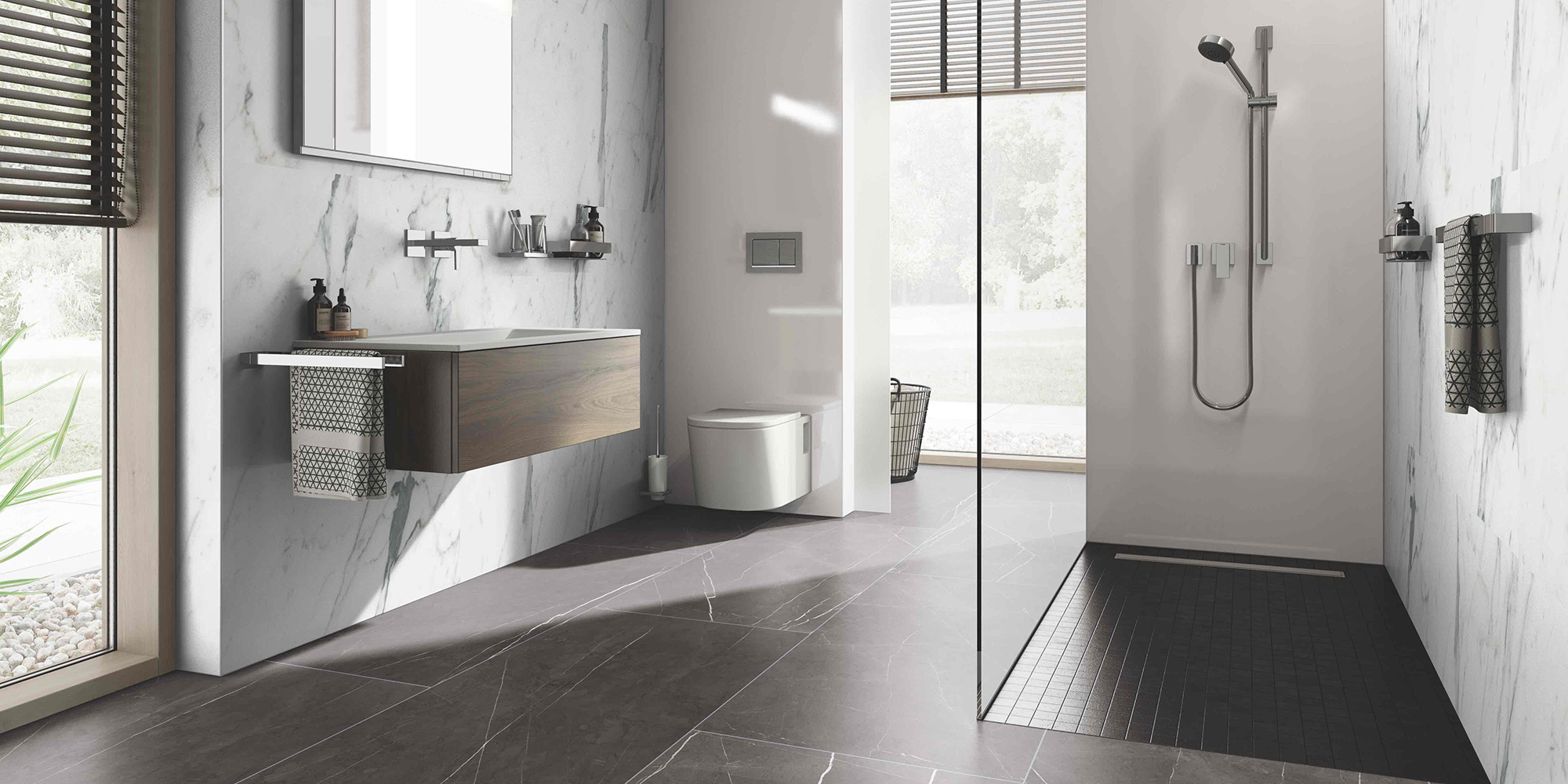 Extra large format ceramin tiles Ireland. Durable as tiles, but much more lightweight, waterproof and PVC free.