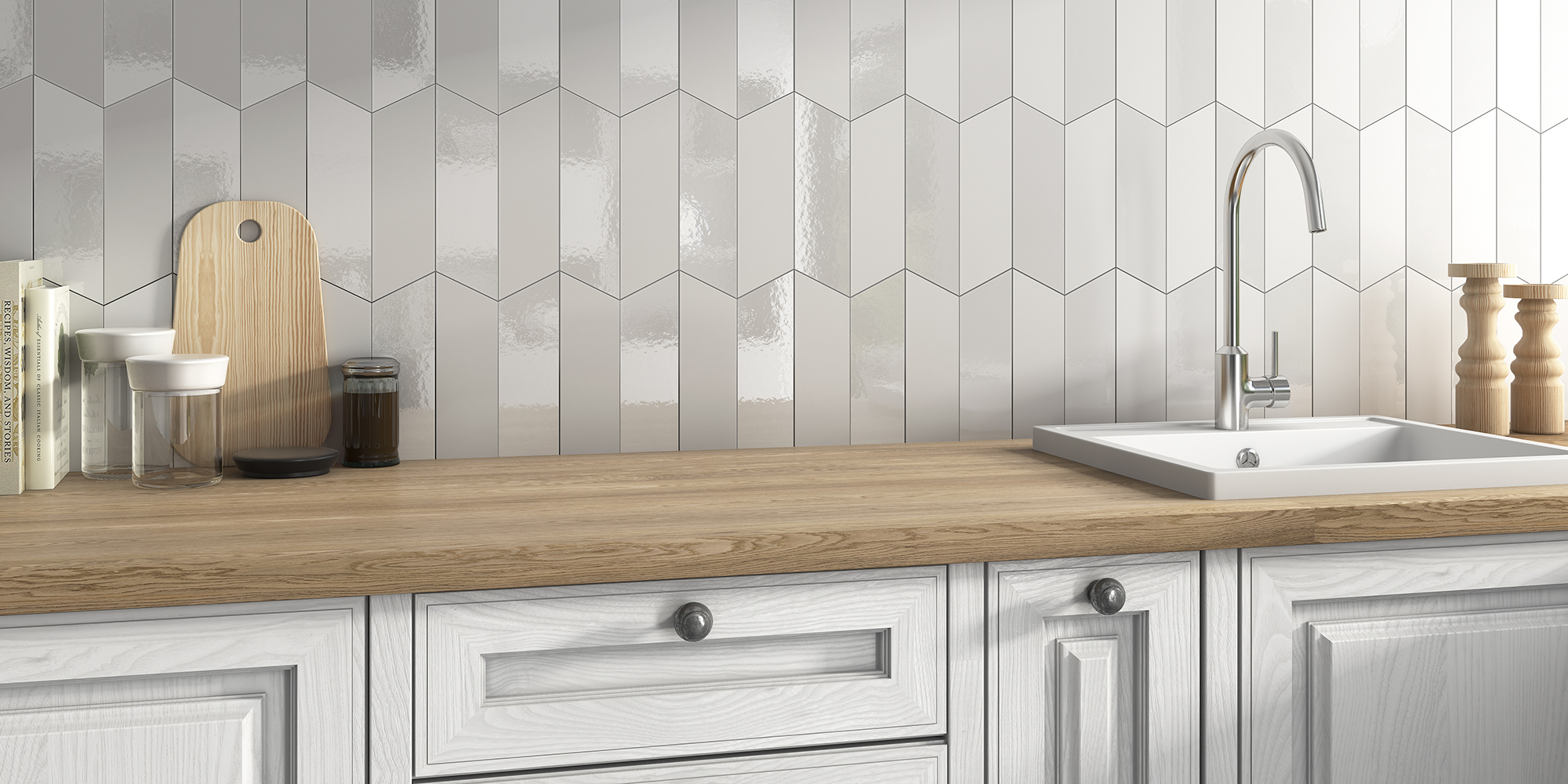 Lloyd 5x20. Chevron creative wall tiles.