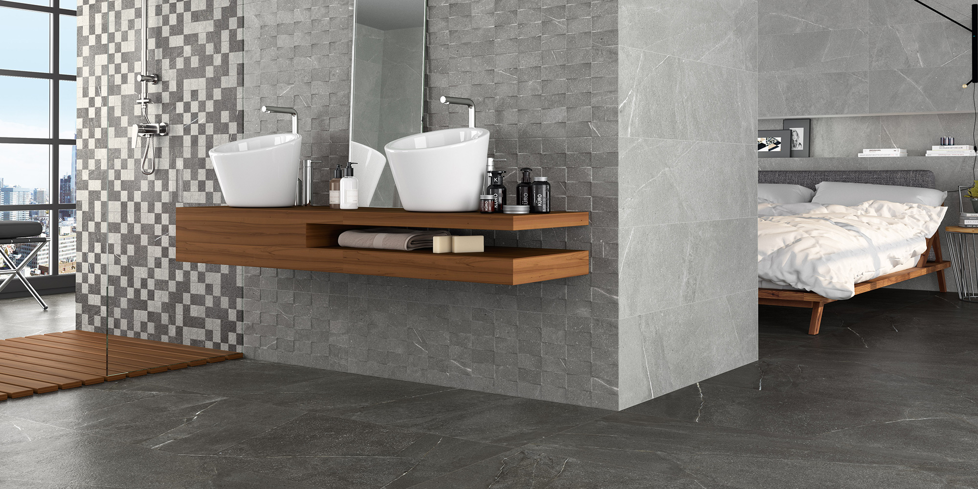 Madison and Top 30x60 / 60x60. Stone look porcelain wall and floor tiles with 3D mosaic effect decors.