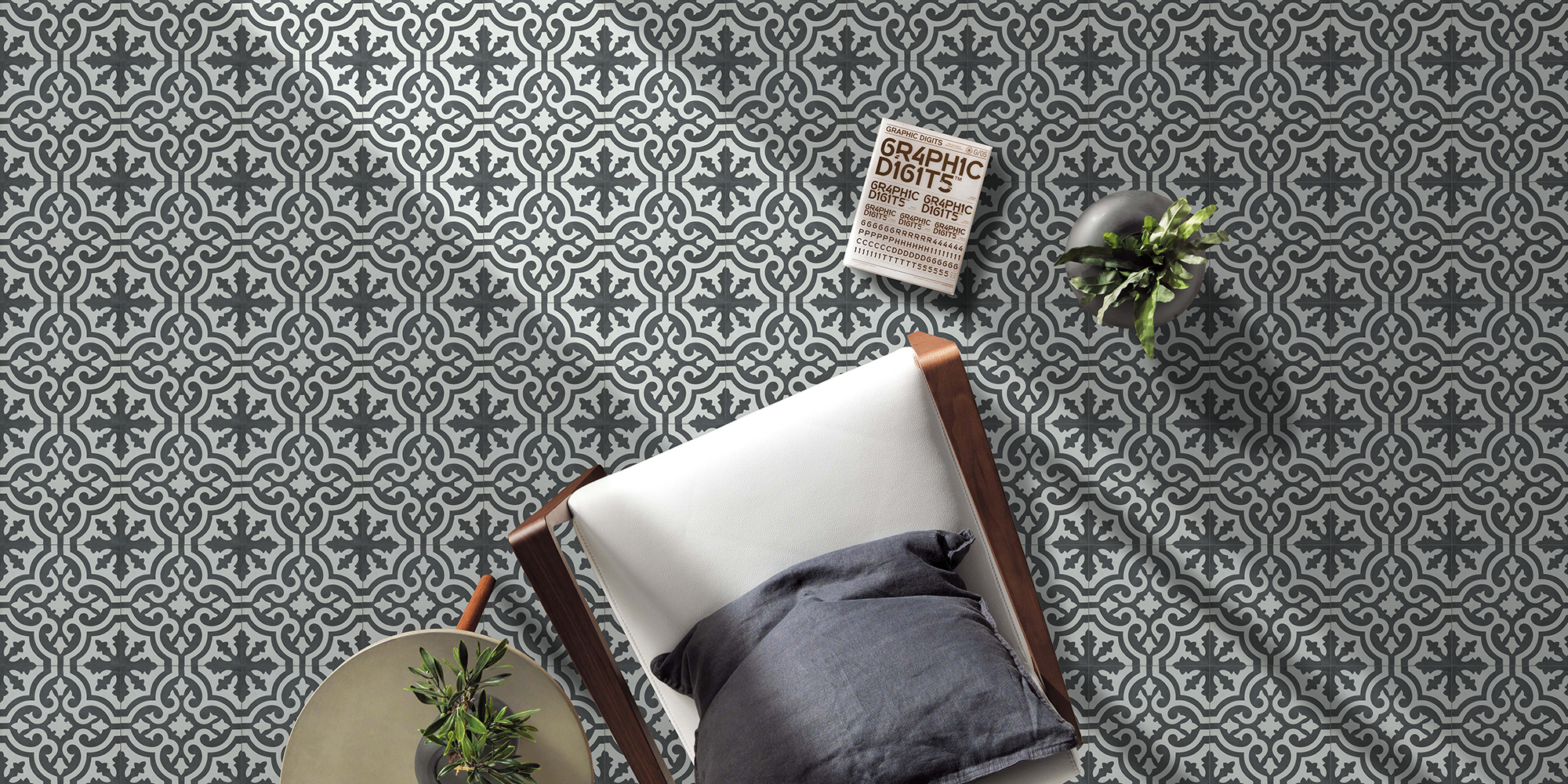 Patterned vintage style cement tiles 20x20.