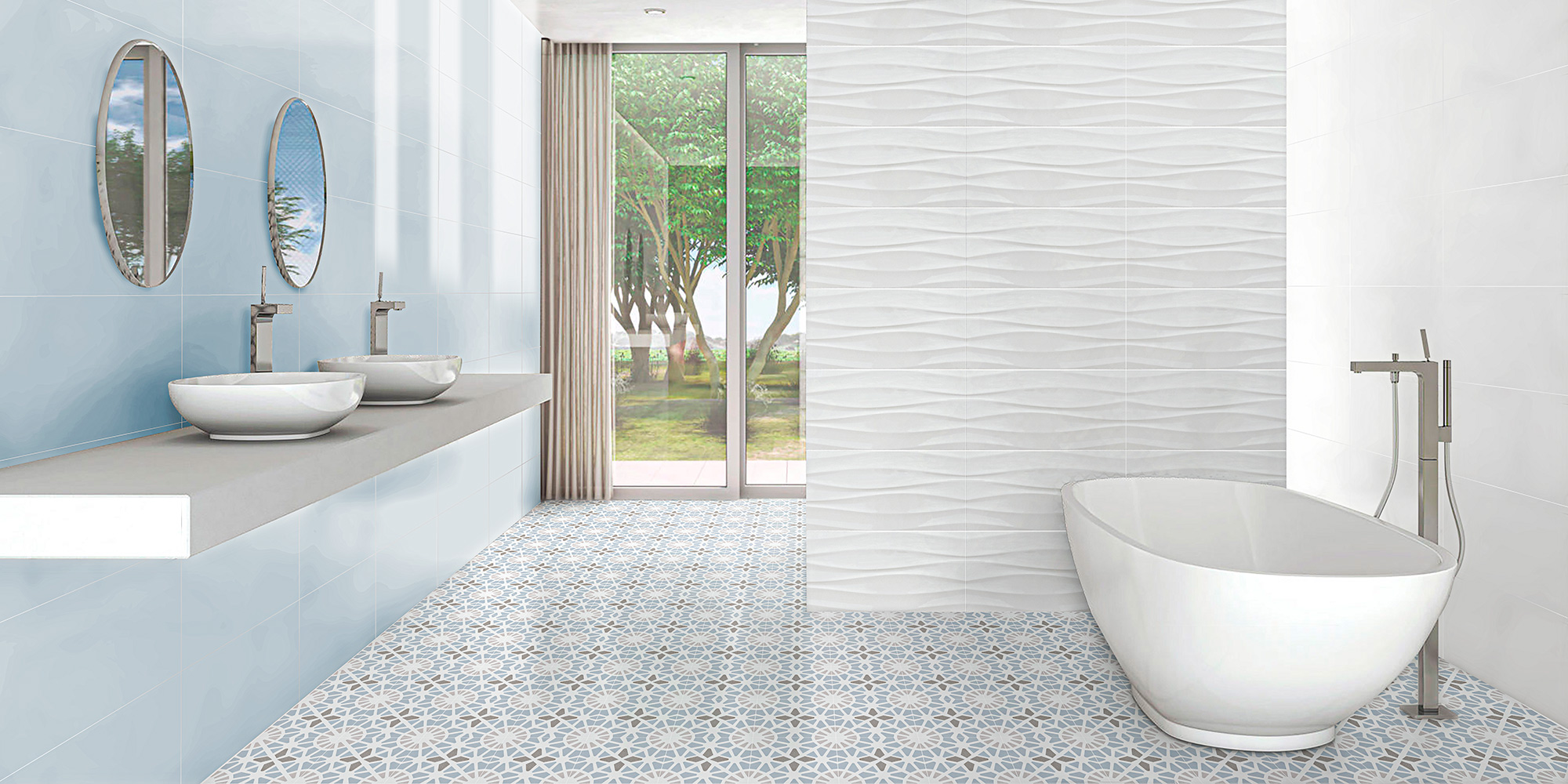 Sweet and Adele. Monocolour wall tiles with a patterned floor.