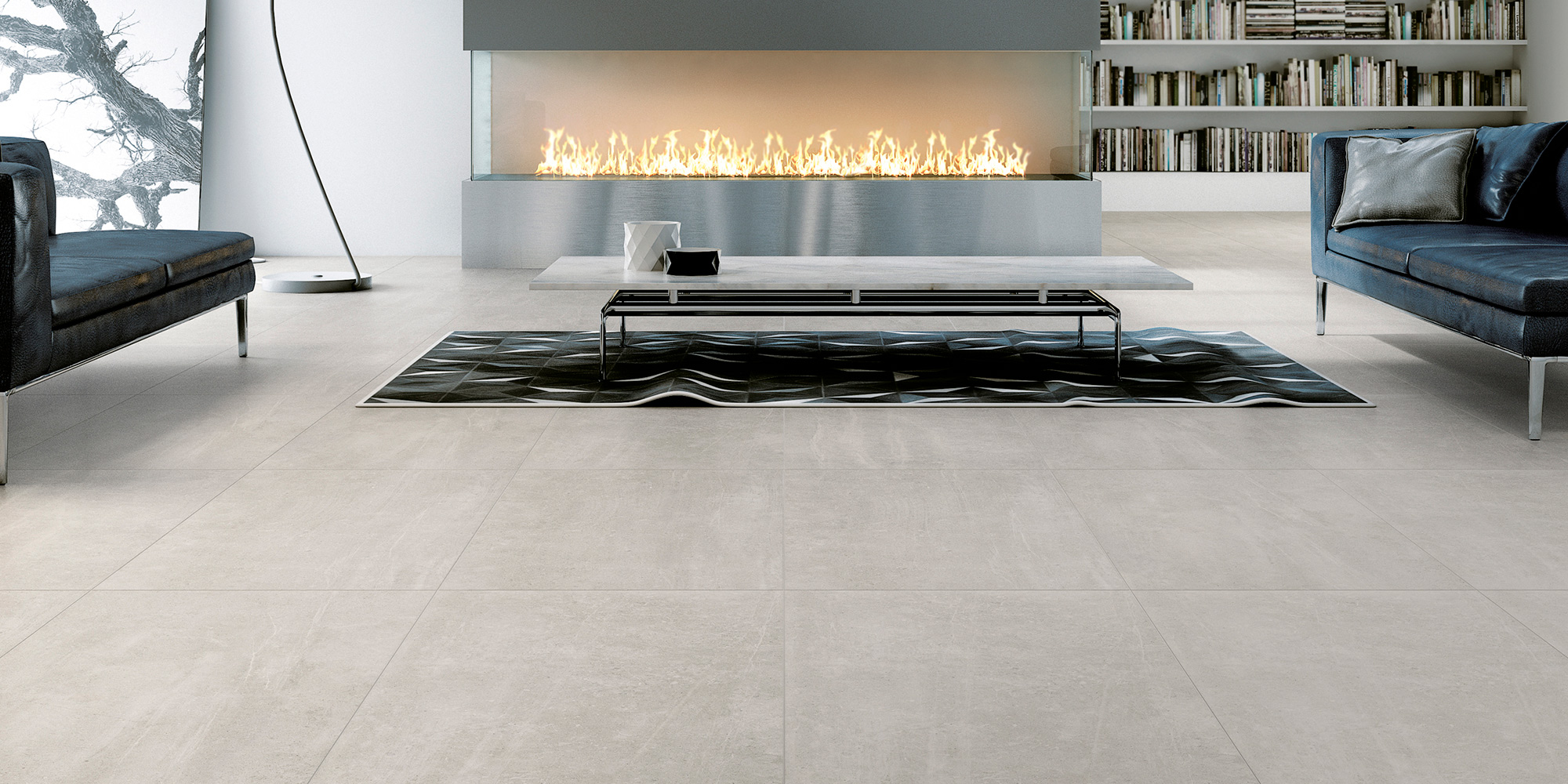 Uptown 45x90 / 60x60. Concrete look porcelain tiles with a high slip rating R10 C.