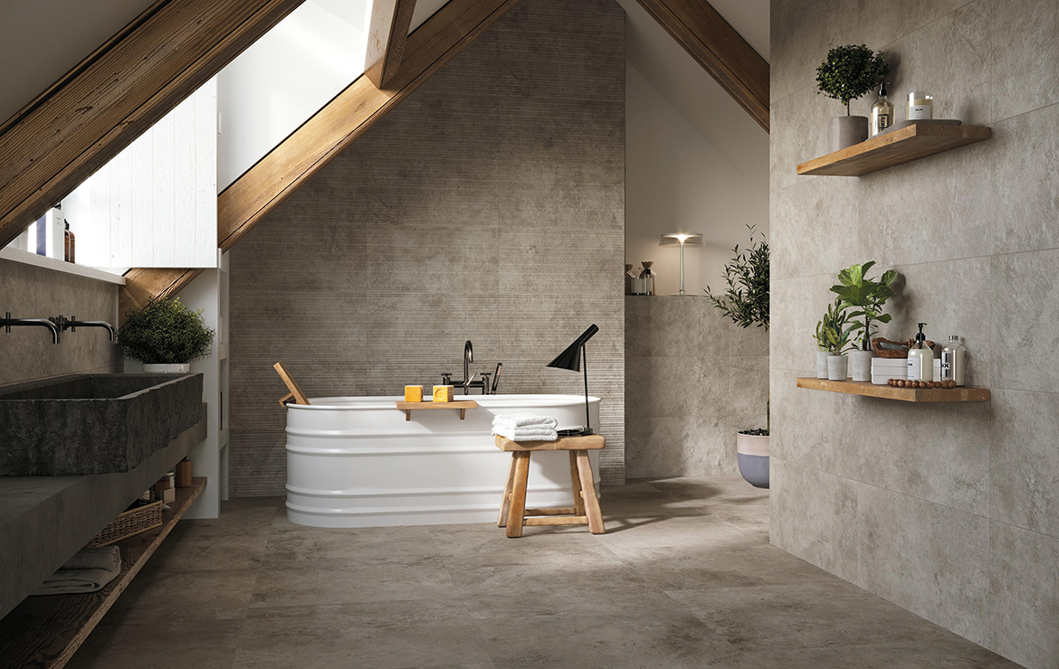 Aix Cendre 37.5x75. Rustic style bathroom interior design with stone look porcelain wall and floor tiles.