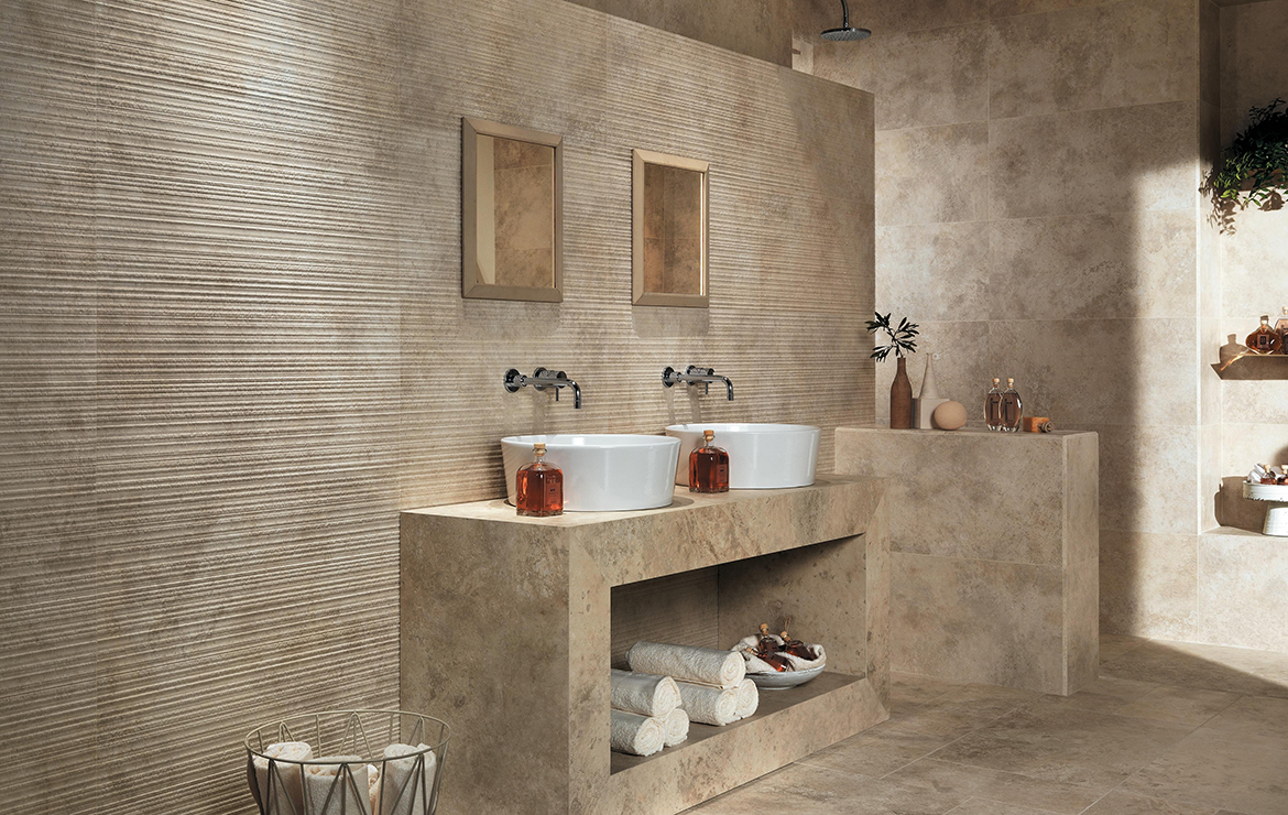 Aix Blanc 37.5x75. Vintage style bathroom interior design with stone look porcelain wall and floor tiles.