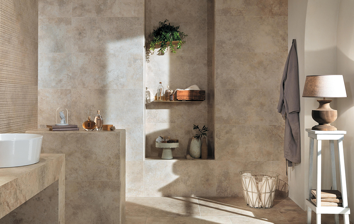 Aix Blanc 37.5x75. Country bathroom interior design with stone look porcelain wall and floor tiles.