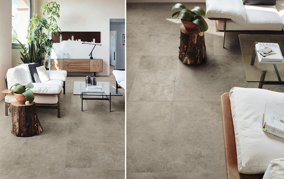 Aix Blanc 37.5x75. Stylish living room interior design with stone look porcelain floor tiles.