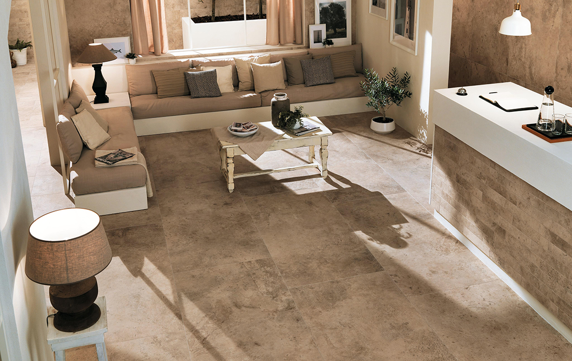 Aix Beige 37.5x75. Rustic style SPA reception interior design with stone look porcelain wall and floor tiles.