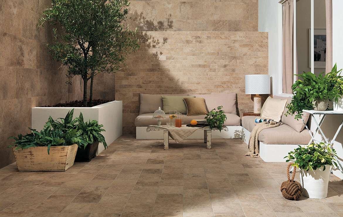Aix Beige 37.5x75. Irish creative patio design with stone look porcelain wall and floor tiles.