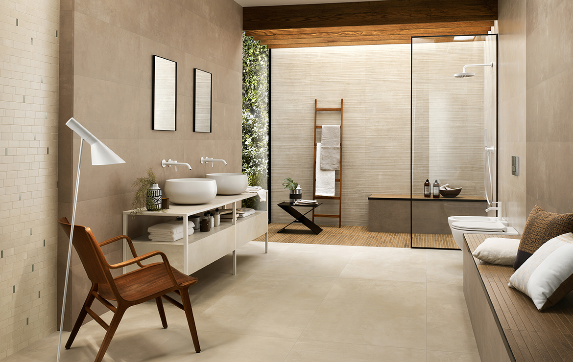 Modern style bathroom interior design for couple with concrete effect large format porcelain tiles - Boost Ivory and Cream 120x120.