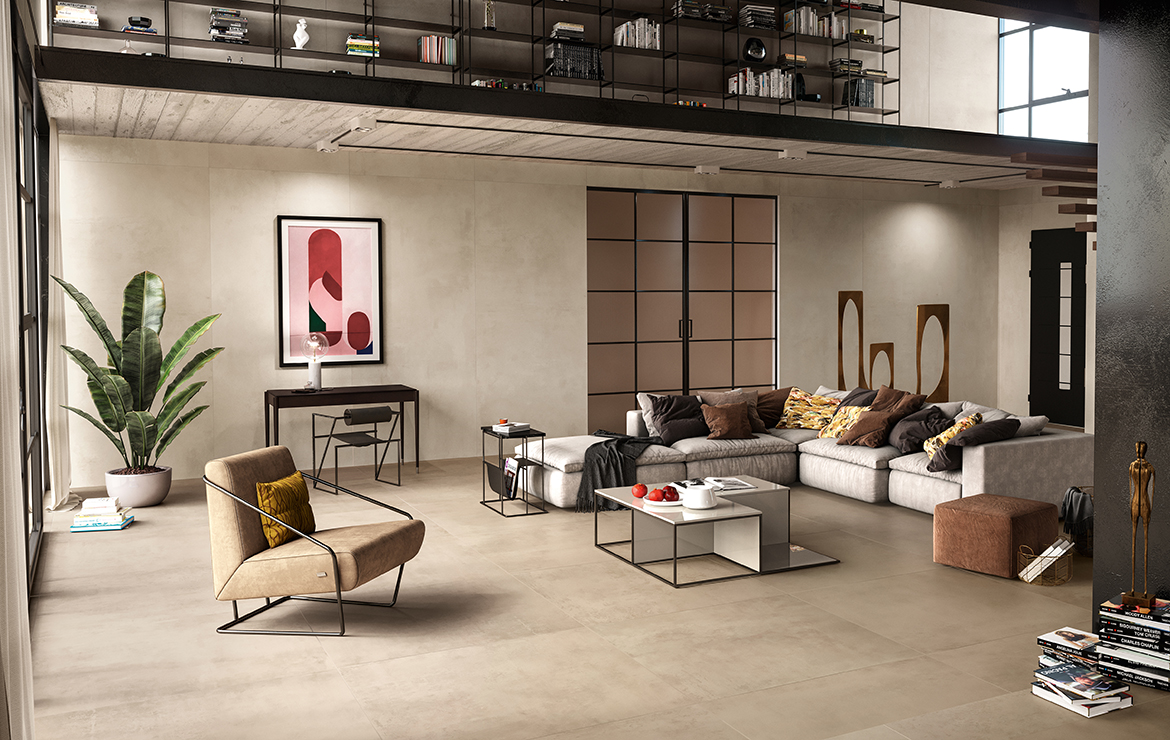 Modern style living room interior design with concrete effect large format porcelain tiles - Boost Clay 120x120.