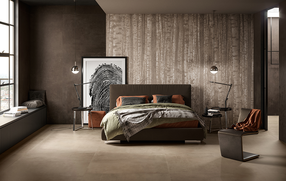 Modern style bedroom interior design with concrete effect large format porcelain tiles - Boost Clay and Tobacco 120x120.