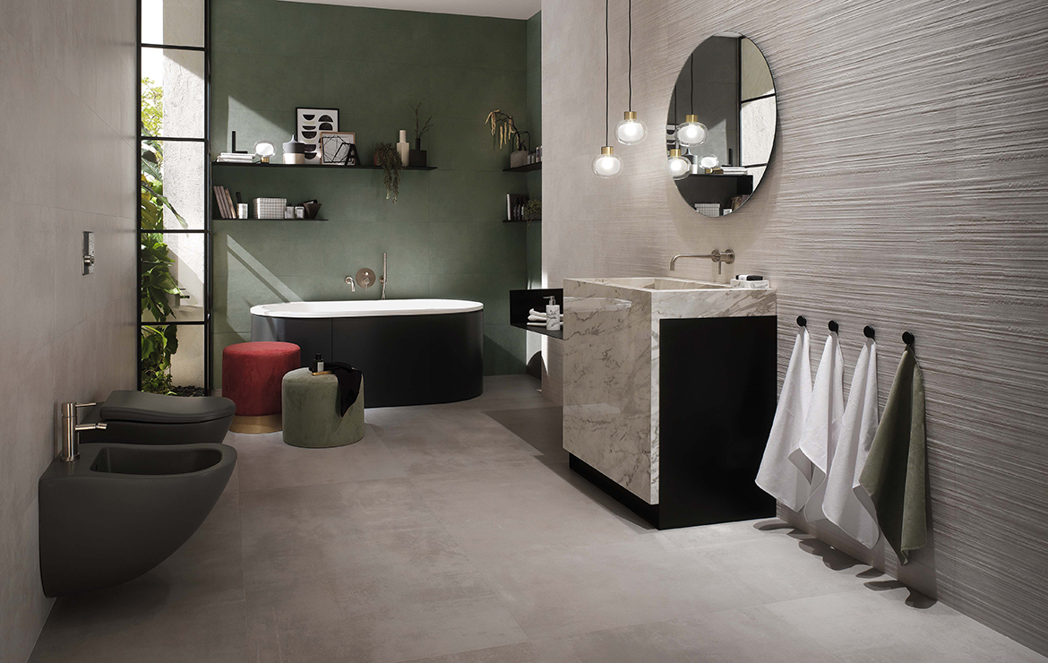 Modern style bathroom interior design with concrete effect large format porcelain tiles - Boost Pearl 120x120 and Boost Sage 40x80.