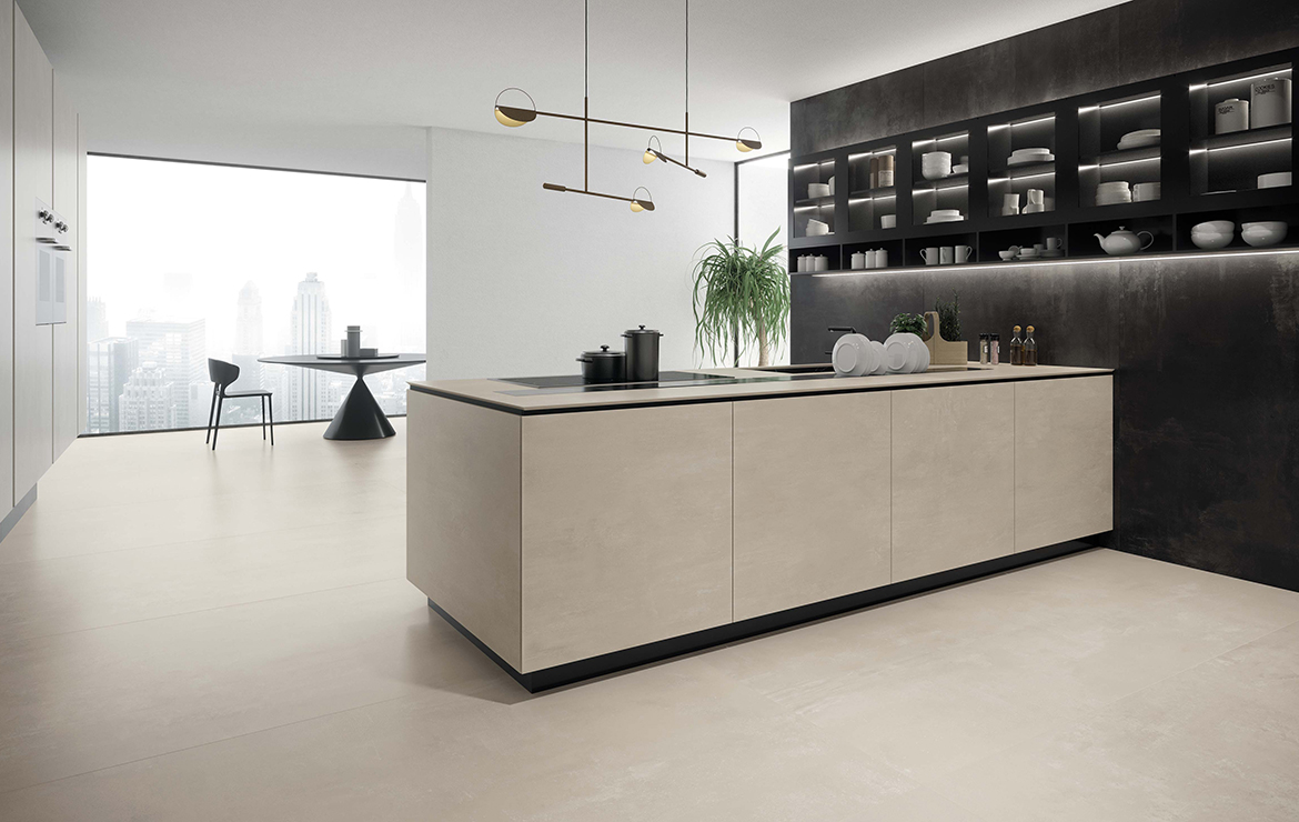 Modern style minimal kitchen interior design with concrete effect large format porcelain tiles - Boost White 120x120.