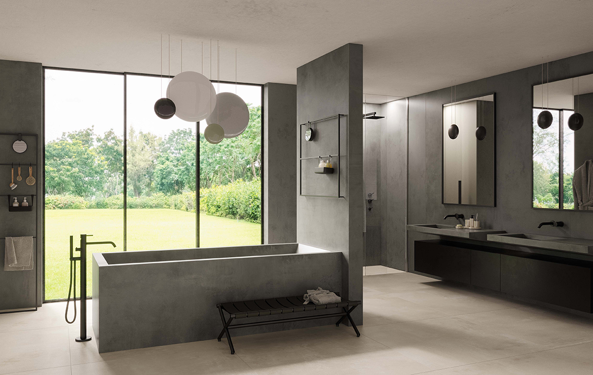 Modern style bathroom interior design with concrete effect large format porcelain tiles - Boost White and Smoke 120x120.