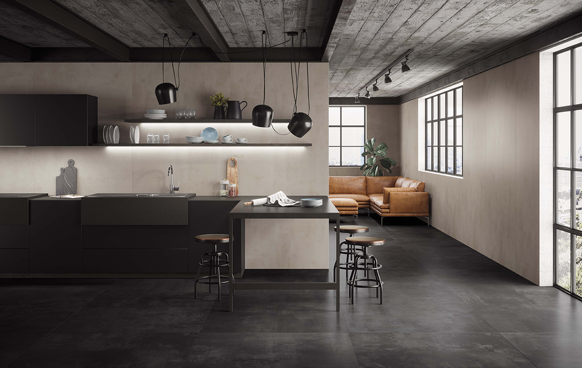 Modern style kitchen interior design with concrete effect large format porcelain tiles - Boost White and Tarmac 120x120.