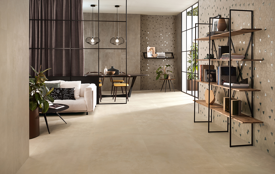 Modern style sitting room interior design with concrete effect large format porcelain tiles - Boost Cream and Taupe 120x120.