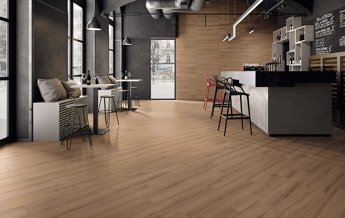 Modern style coffee brunch bar interior design with anti-slip wood look porcelain floor tiles Breath Cognac 22.5x90.