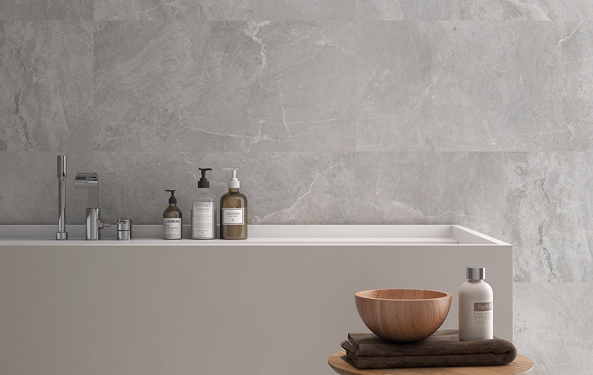 Modern style bathroom wall design with the natural stone effect porcelain tiles - Cave Perla 45x90.
