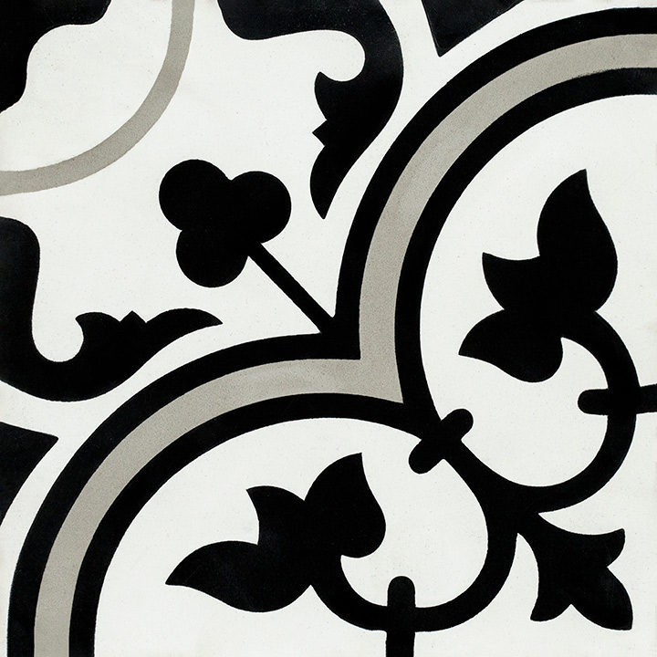 Patterned vintage effect cement tiles for walls and floors. Banana Flower 20x20.