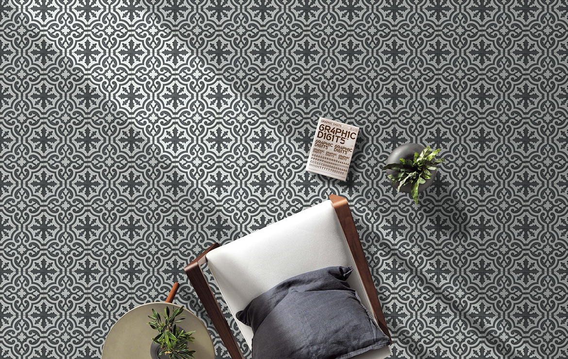 Vintage effect floor design with the patterned cement tiles Spider 20x20.