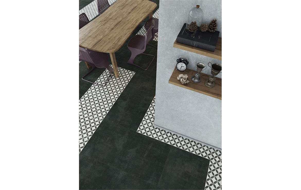Vintage effect floor design with the patterned cement tiles Cana 20x20.