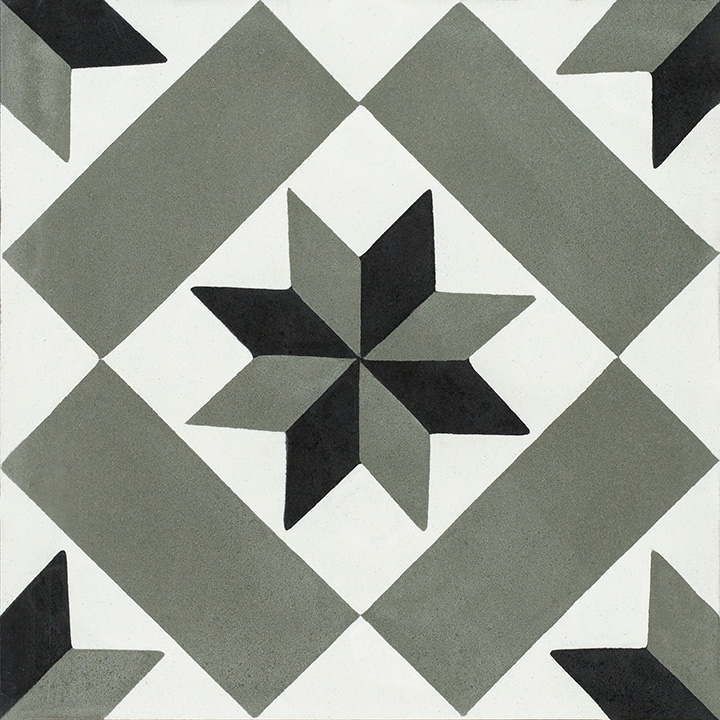 Patterned vintage effect cement tiles for walls and floors. Little Stars 20x20.