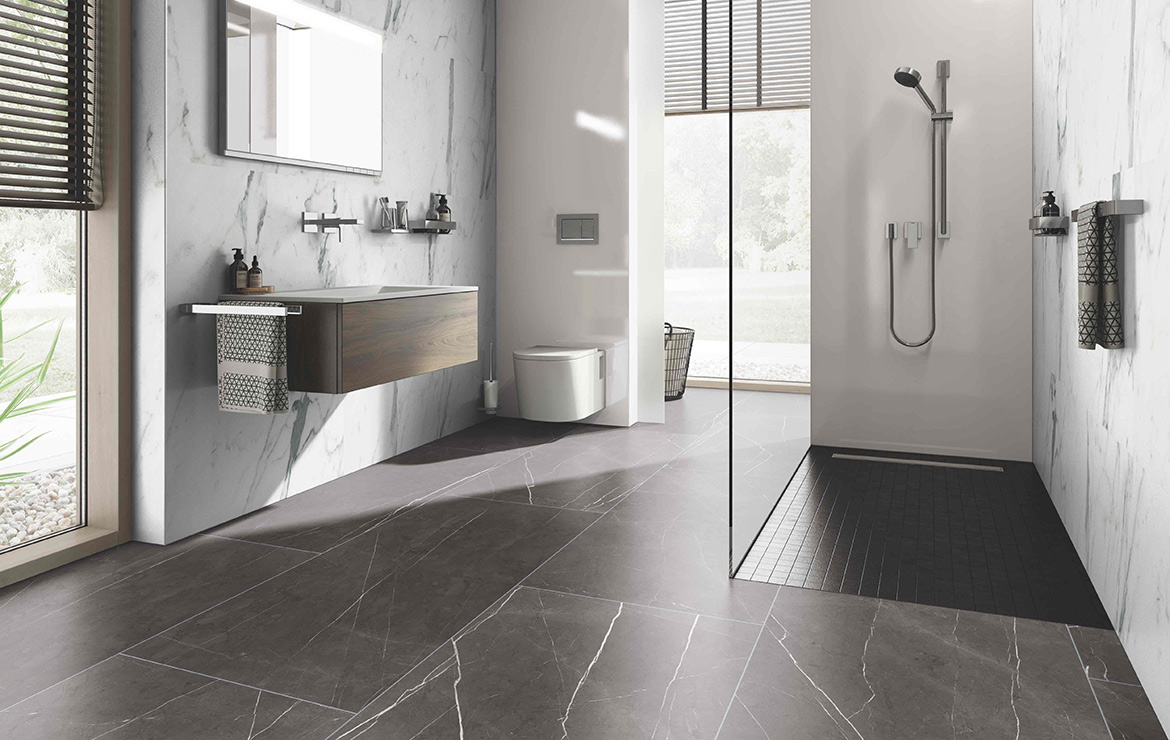 Modern style bathroom interior design with extra large format ceramin tiles Carrara White 1202x2550.