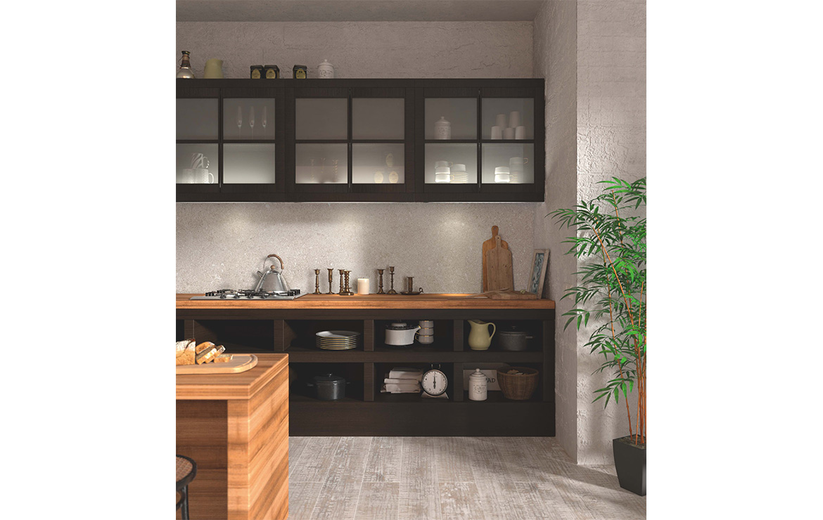 Modern style kitchen interior design with extra large format ceramin tiles Carona Rocket Grey 1202x2550x3.2mm.