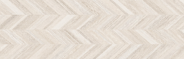Coliseum Dynasty Bone 31.6x100. Decorative wall tile with Zig-Zag pattern.