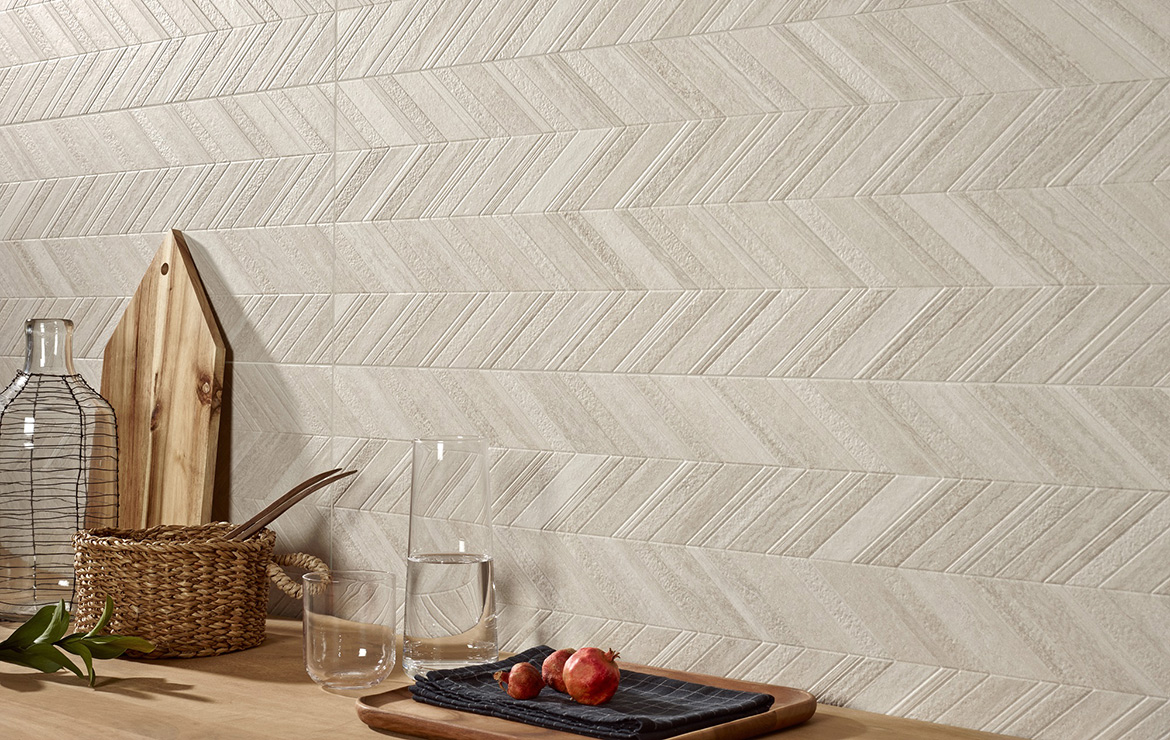 Modern style kitchen wall design with Zig-Zag pattern decoration - Dynasty Grey 31.6x100.