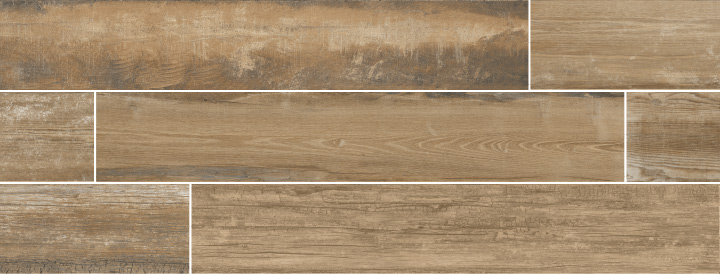 Colonial Brown Soft 20x120. Extra long plank aged oak wood look porcelain tile with anti-slip rating R10 C.