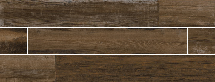 Colonial Noce Soft 20x120. Extra long plank aged oak wood look porcelain tile with anti-slip rating R10 C.