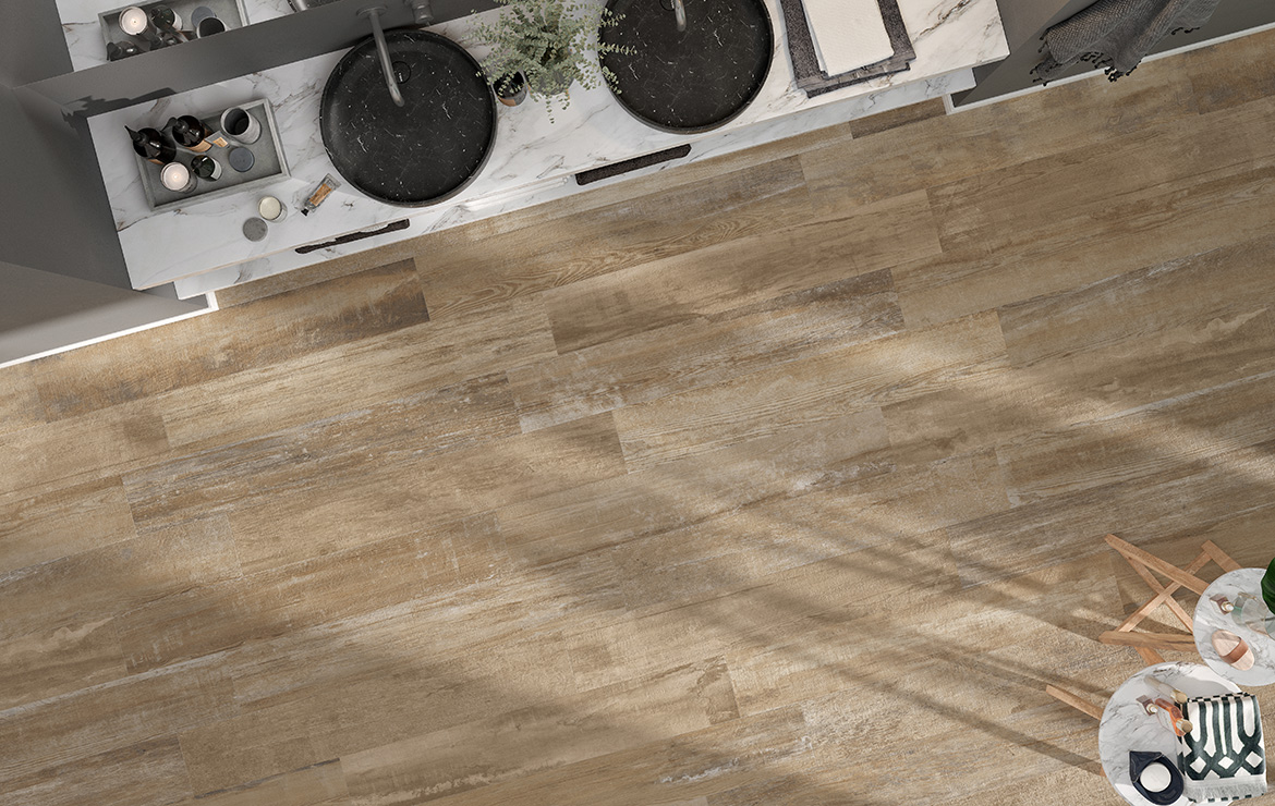 Nordic style bathroom floor design with aged oak look porcelain floor tiles Colonial Natural Soft 20x120.