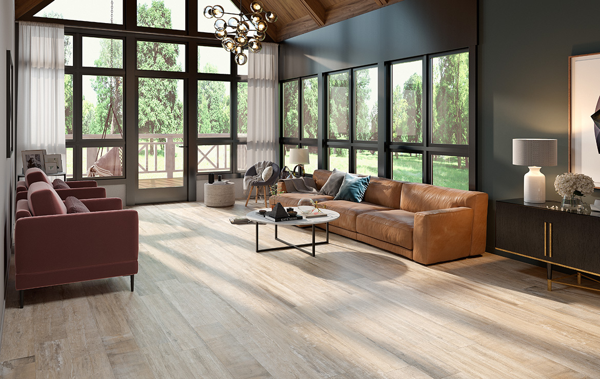 Irish country house living room interior design with aged oak look porcelain floor tiles Colonial Brown Soft 20x120.