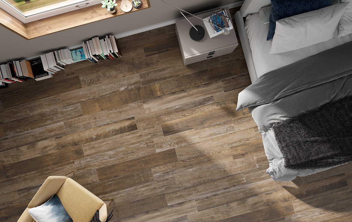 Bedroom floor design with aged oak look porcelain floor tiles Colonial Brown Soft 20x120.